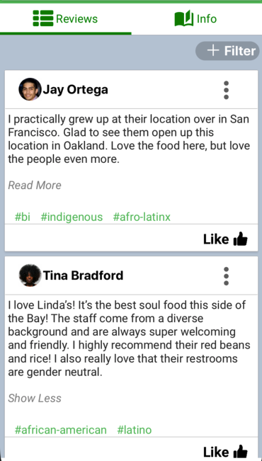 users reviewing a local restaraunt positively